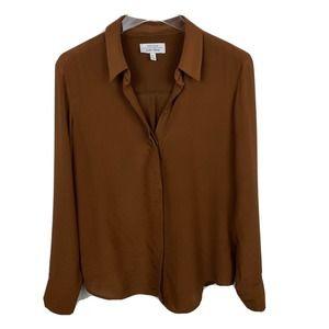 & Other Stories Shirt Orange Long Sleeves Silk